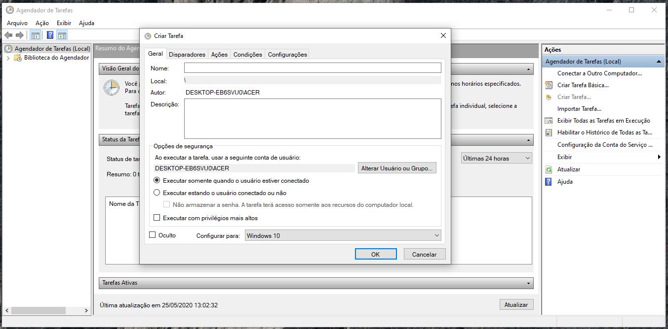 Figura 10 - Agendador de tarefas do Windows