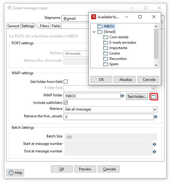 Figura 6 - Apontando deretório Email messages input