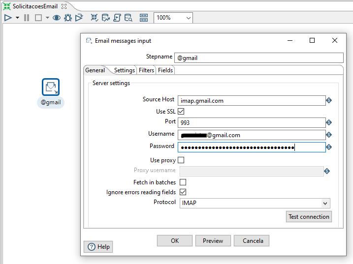 Figura 4 - Configurando Email messages input