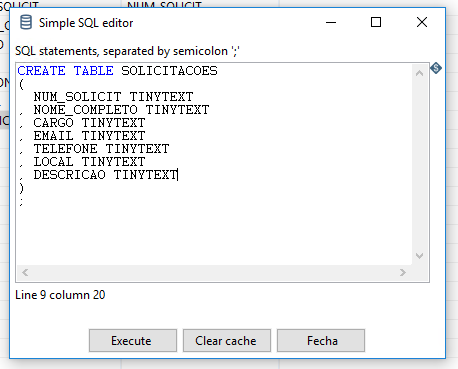 Figura 15 - Executando CREATE TABLE